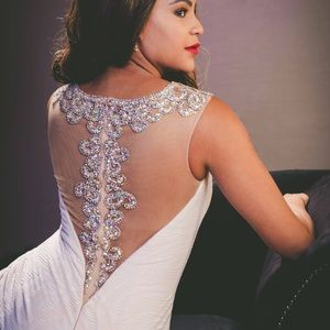 Stunning white gown prom, wedding etc back detail